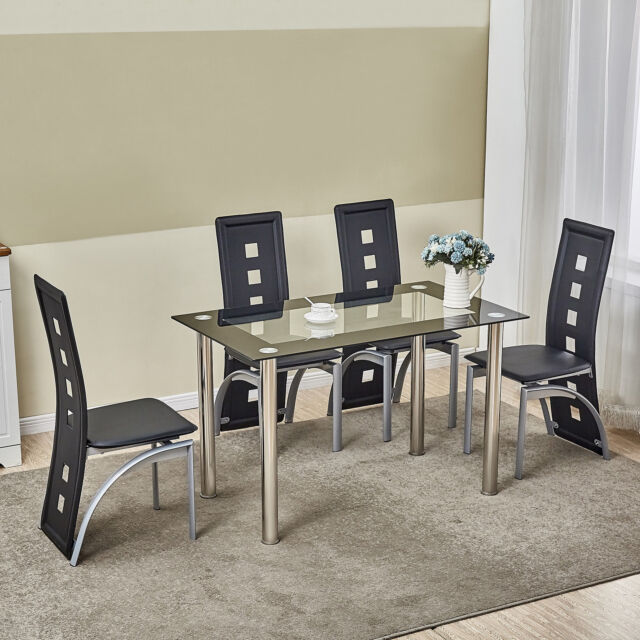 5 Piece Dining Table Set Black Gl 4 Chairs Seats Kitchen Dinette Home Decor