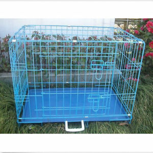 USA Pink Blue Black Folding Dog Crate Cage Kennel Two Door ... - photo#32