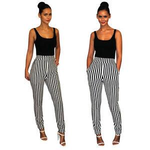 femmes verticale noir et blanc rayure jambes fines pantalons cigarette ebay. Black Bedroom Furniture Sets. Home Design Ideas