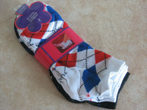 NEW W//TAGS Ladies Argyle design ankle Socks Cotton Blend 3 pair pack 9-11 casual