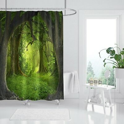 3d Deep Forest 88 Shower Curtain Waterproof Fiber Bathroom Home Windows Toilet A Plastic Case Is Compartmentalized For Safe Storage Shower Curtains