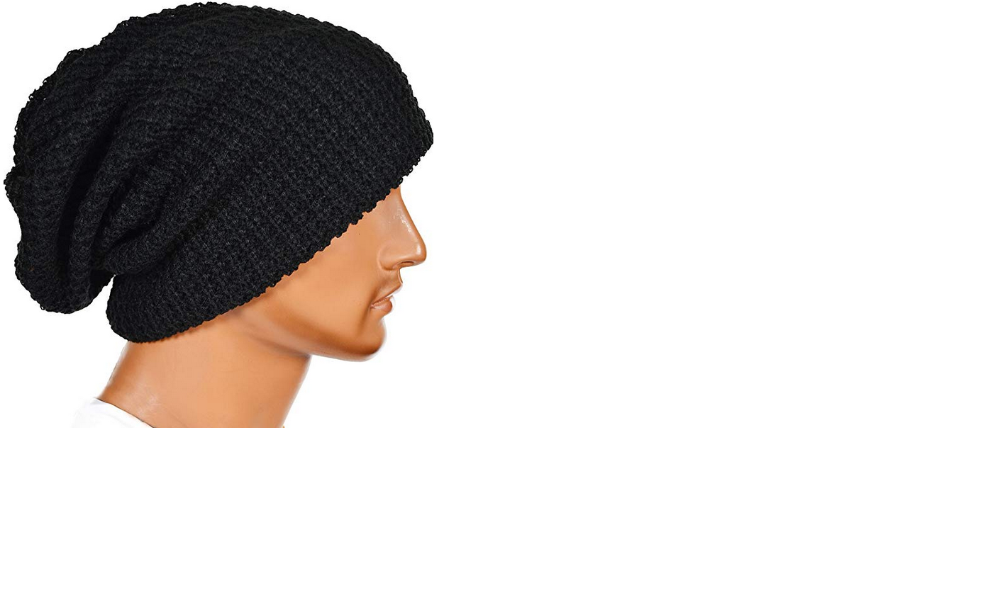 4947703b151 Mens Slouchy Long Beanie Knit Cap Summer Winter Oversize B08 Black ...