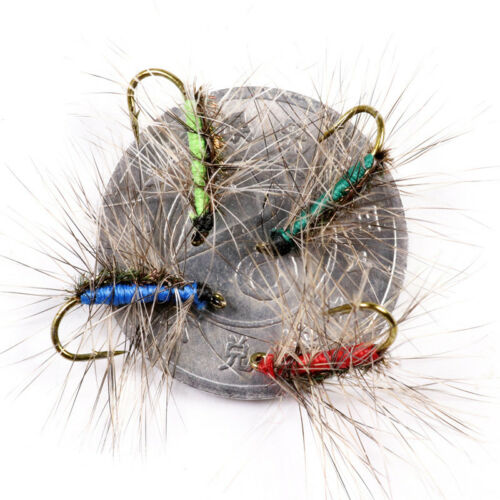 5pcs//lot #12 Crackleback Gnat Fly Trout Fishing Dry Flies Peacock Herl Back