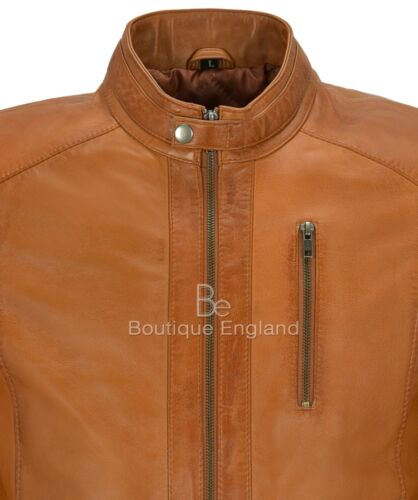 Men/'s Real Leather Jacket Tan Napa Soft Casual Biker Motorcycle Style M-137