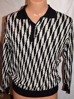 Mondo Di Marco Men's Sweater Size S Italy Button Collar Pull Over Black