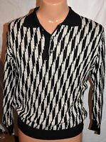 Mondo Di Marco Men's Sweater Size S Italy Button Collar Pull Over Black