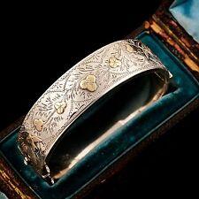 Antique Vintage Victorian Sterling Silver 14k Gold English 1888 Swallow Bracelet