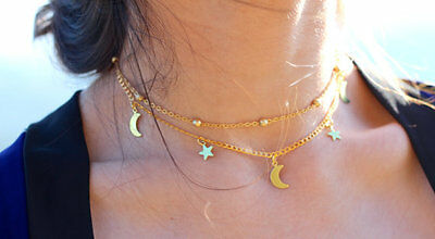 Women's Star & Moon Charms Chain Choker Necklace Fashion Jewelry hot