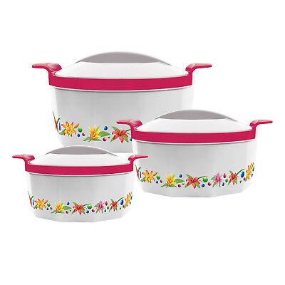 Rigoroso 3pc Hot Pot Set Isolato In Acciaio Profondo Casseruola Che Servono Dish Scaldavivande Rosa-
