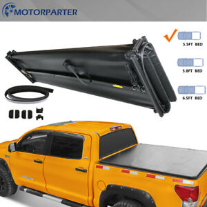 Toyota Tundra Bed Cover >> Details About Tonneau Cover 5 5ft 4fold For 14 19 Toyota Tundra Sr5 Ltd Truck Bed Crewmax