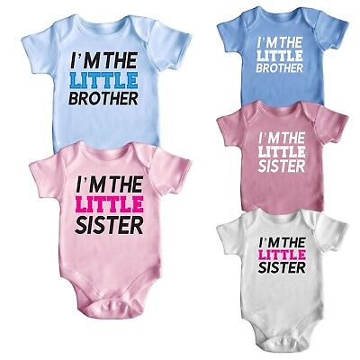 Cute Brother Sister Short Sleeve Baby Boy Girl Rompers Baby Grows Newborn 0-18M