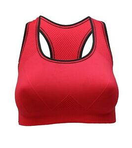 2421dea158d2e Womens Red Ladies Non Padded Sports Bra Seamless Yoga Gym Fitness ...