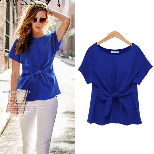Women Casual Chiffon Blouse Short Sleeve Shirt Summer Bow Accept Waist T-shirt