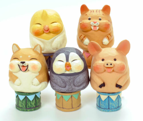Folk Art Miniature Carved Plastic Wood Bird Dog Cat Figure 1 Random Toy