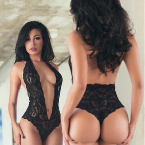 Women See-through Lace Lingerie Leopard Body Stocking Dress Nitghtwear Underwear