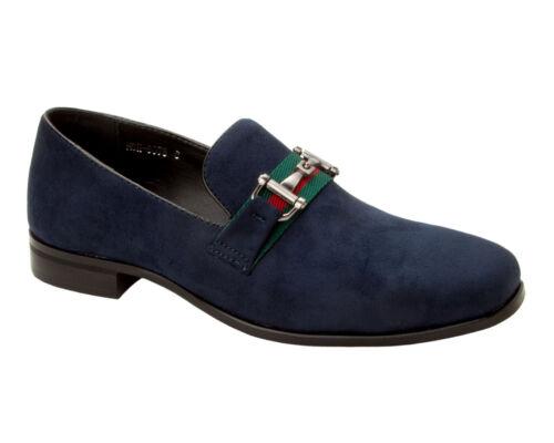 Homme Bleu Marine Décontracté Chic Chaussures Italienne Homme Enfiler Robe Bureau Taille UK 6-11