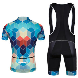 Men-039-s-Cycling-Jersey-Bib-Shorts-Padded-Set-Reflective-Road-Bike-Clothing-Kit