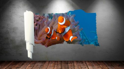 3D Rip Effet Nemo Poisson Mer Corail Autocollant Mur Affiche Vinyl GA10-45