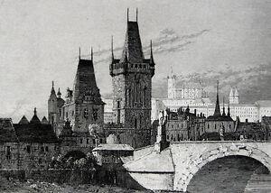 Prag KarlsbrÜcke KarlŮv Most Charles Bridge Prague 1842 AltstÄdter BrÜckenturm QualitäT Und QuantitäT Gesichert Antiquitäten & Kunst Osteuropa