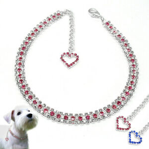Bling-Dog-Rhinestone-Necklace-Collar-Crytal-Heart-Pendant-Small-Puppy-Cat-Collar