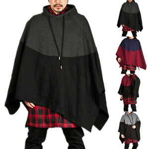 Men-039-s-Autumn-Hooded-Hoodie-Cape-Cloak-Poncho-Coat-Smock-Pullovers-Coat-Sweaters