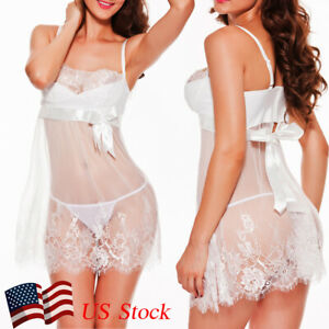 Sexy-Lingerie-Underwear-Sleepwear-Women-G-string-Robe-Lace-Babydoll-Nightwear US