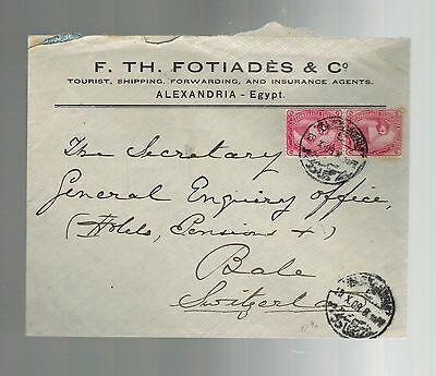 Zielsetzung 1909 Alexandria Ägypten Gewerblicher Abdeckung Zu Ballen Schweiz F Th Fotiades 2 Heller Glanz Mittlerer Osten