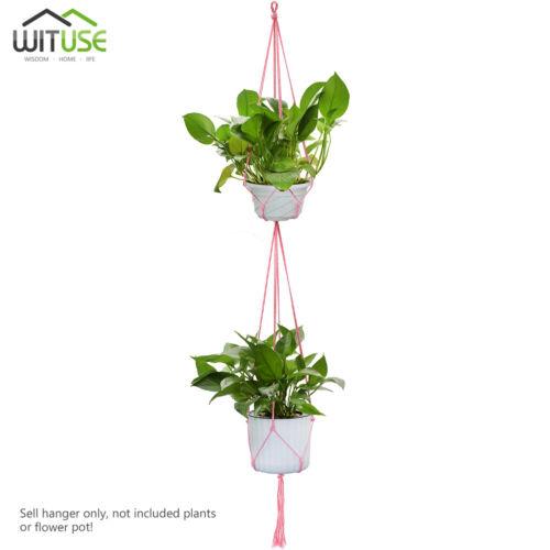 Cotton Rope Colorful Flowerpot Hanger Garden Basket Plant Holder One//Two-Deck 2