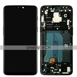 Details about 6 28 OnePlus 6 1+6 A6000 A6003 Black AMOLED LCD Touch Screen  Assembly with Frame