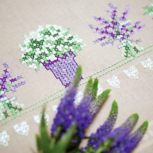 PN-0165238 Tablecloth Counted Cross Stitch Kit Lavender Vervaco