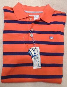 Southern-Tide-Cotton-Blend-Skipjack-Orange-Blue-Striped-Polo-Shirt-NWT-Mediu-85