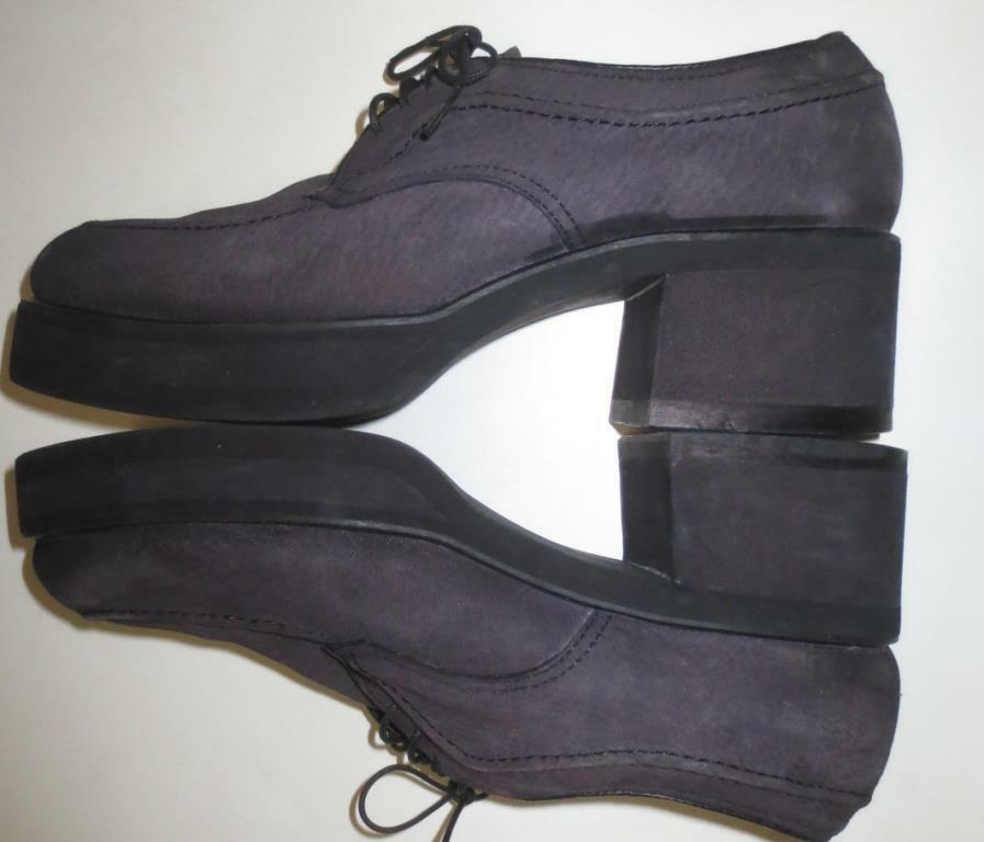 Hush Puppies Gray Suede Leder Platform Oxford Schuhes, 8M Retro MOD