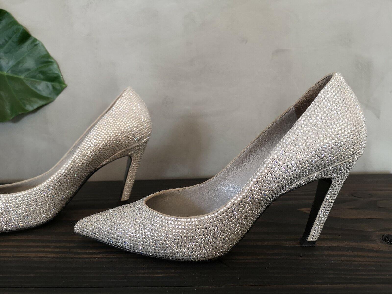 Balenciaga grau Silber Suede Crystal Embellished Knife Pumps Heels Sz 37