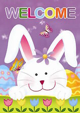 """Welcome Bunny Easter Garden Flag Tulips Easter Eggs 12.5"""" x 18"""" Briarwood Lane"""