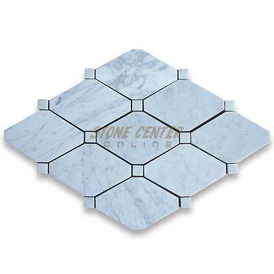 Carrara White Italian Carrera Marble Long Octagon Tile 4 x 8 Polished