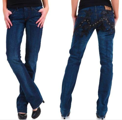 Jeans Donna Pantaloni YAZ GATO Italy A386 Dritto Blu Tg 26 28 veste piccolo