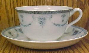 Johnson-Brothers-The-Villiers-Cup-amp-Saucer-Porcelain-Vintage-Blue-amp-White