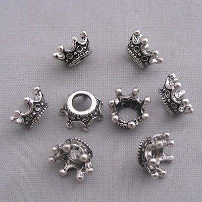 50PCS Tibetan Silver Crown Large Hole European Charm  Bead  12*6mm Hole dia 5mm