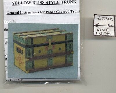 Lithograph Wooden Trunk Kit dollhouse miniature 1//12 scale CPT107  USA yellow