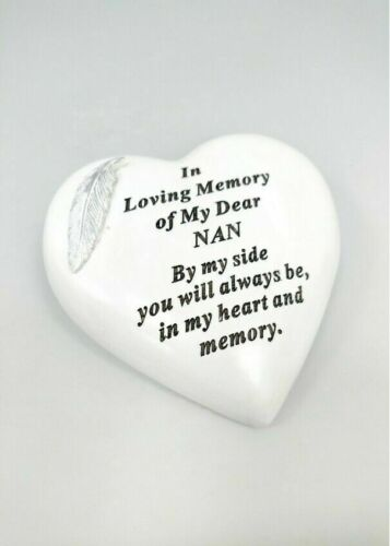 WHITE HEART SILVER FEATHER PLAQUE MEMORIAL GRAVESIDE CEMETERY ORNAMENT TRIBUTE