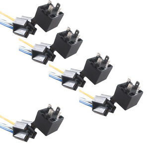 DC-Black-5PacK-Car-Truck-12V-12-Volt-40A-AMP-Relay-amp-Socket-SPST-4Pin-4-Wire-W8
