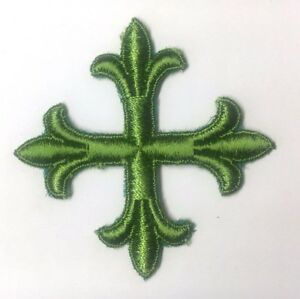 Vintage-Frances-Cruz-3-034-Bordado-para-Coser-Luz-Verde-C-Emblema-Parche-2PC