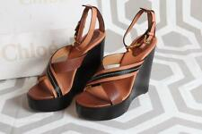 NIB Chloe Naim Cognac Sandals Shoes 40.5 Platform Wedge