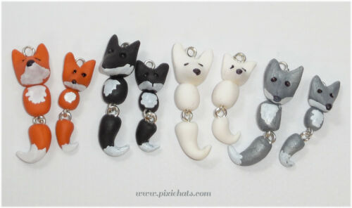 Fox charm pendant handmade polymer clay animal beads