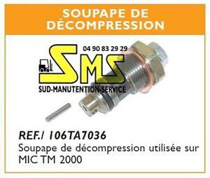 Clapet soupape de decompression tige transpalette manuel - Soupape de decompression chambre froide ...