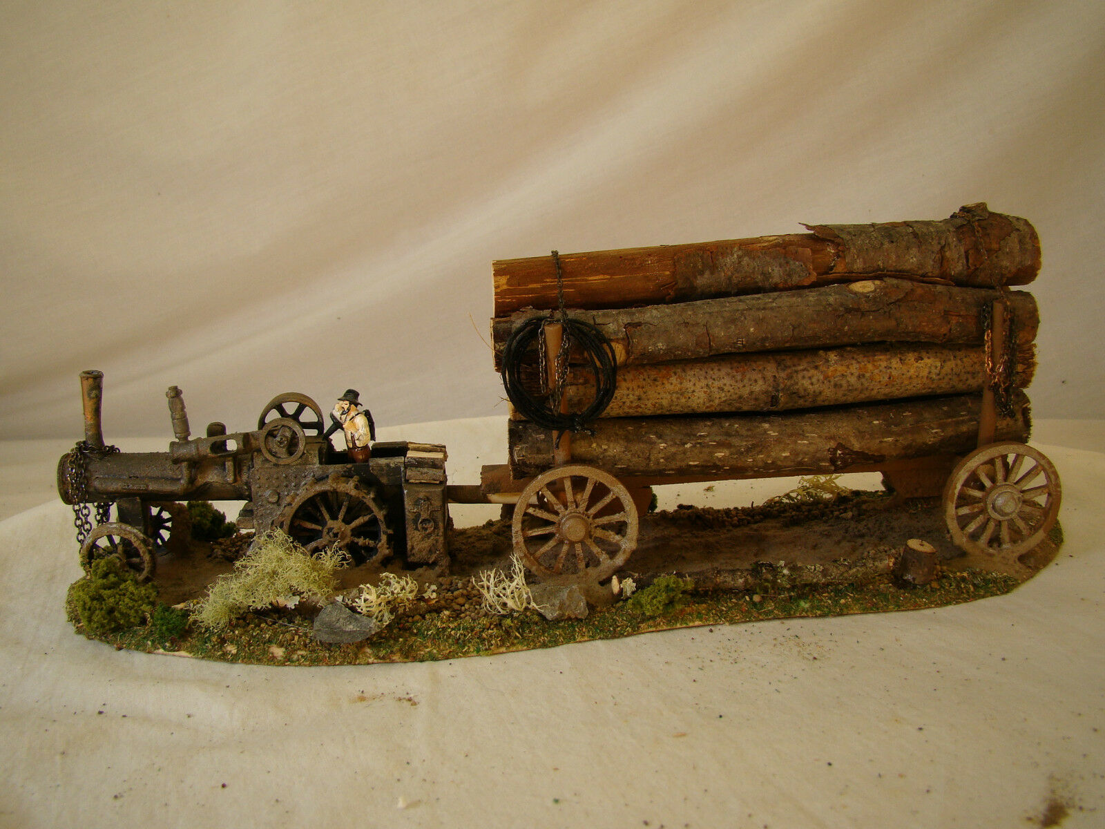 O scale / On30 Steam Tractor Logging Diorama - custom weatherosso, handcrafted