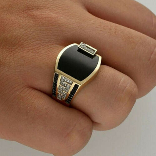 Men 18K Gold Plated White Sapphire Ring Punk Classic Wedding Party Jewelry Gifts