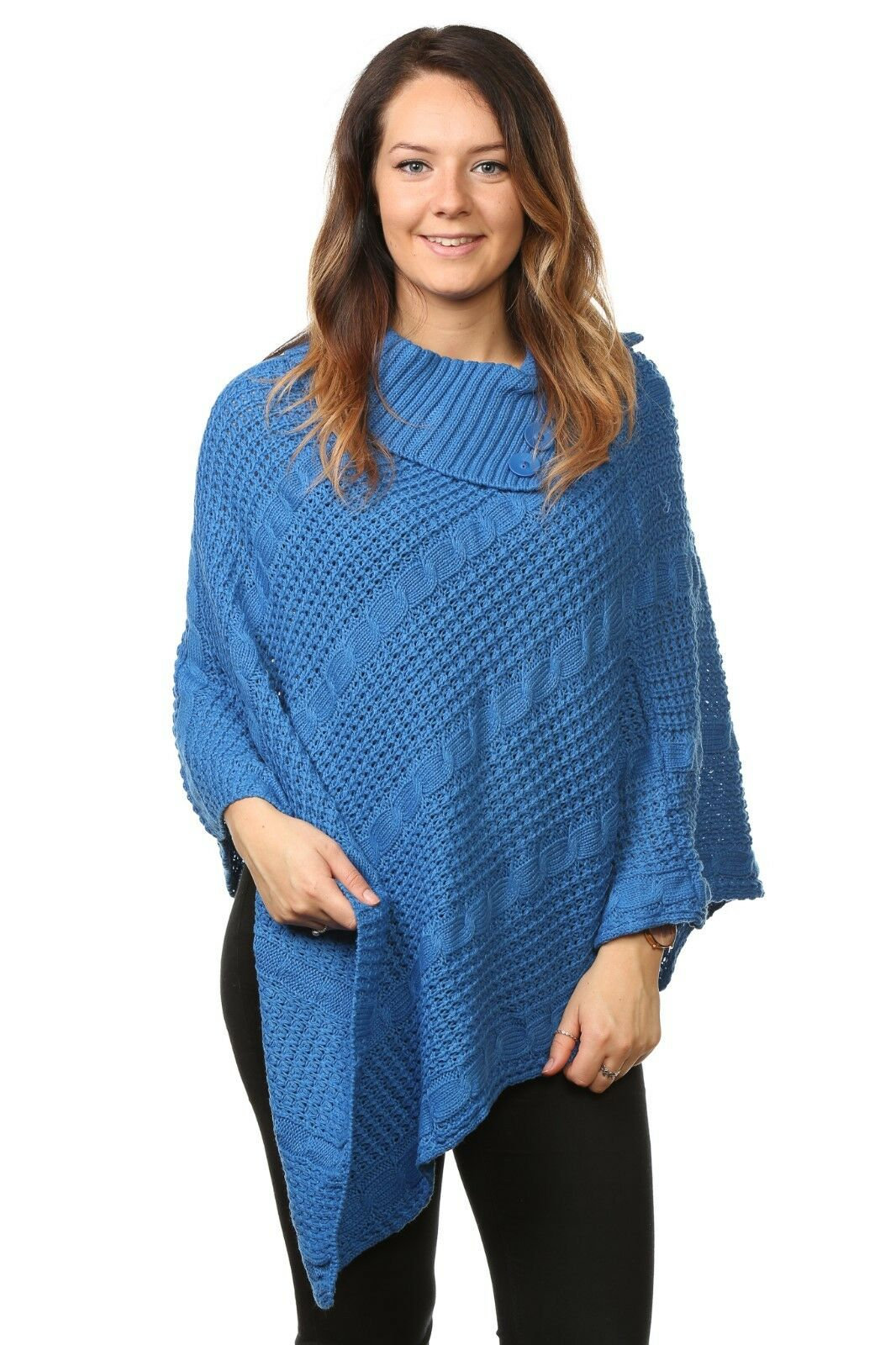 Ladies Women's Plus Sizes Cable Knitted Acrylic Poncho ...
