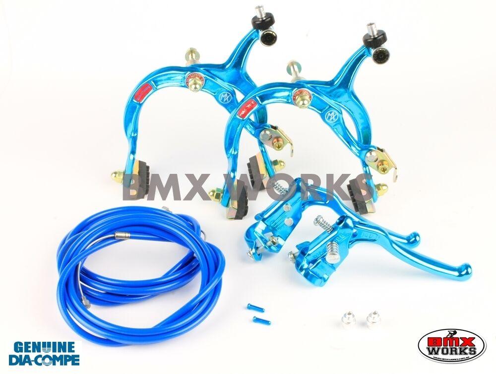 Dia-Compe MX1000 - MX128 - Tech-6 Bright blueee Brake Set Old Vintage School BMX