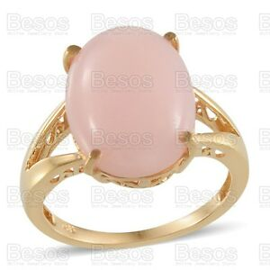 LARGE-PINK-OPAL-6-5ct-solitaire-RING-14K-Gold-on-solid-STERLING-SILVER-925-UK-R